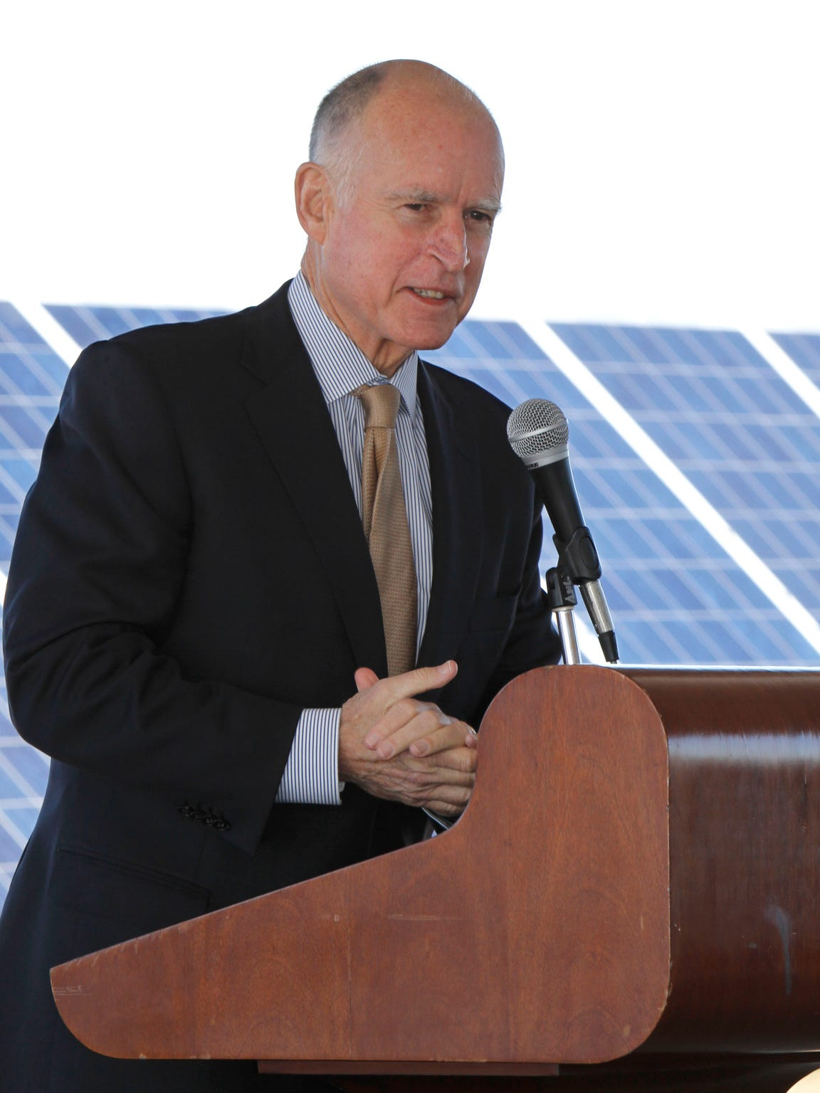 Gov. Jerry Brown speaks at a Recurrent Energy solar farm in Elk Grove, California on Jan. 13, 2012.