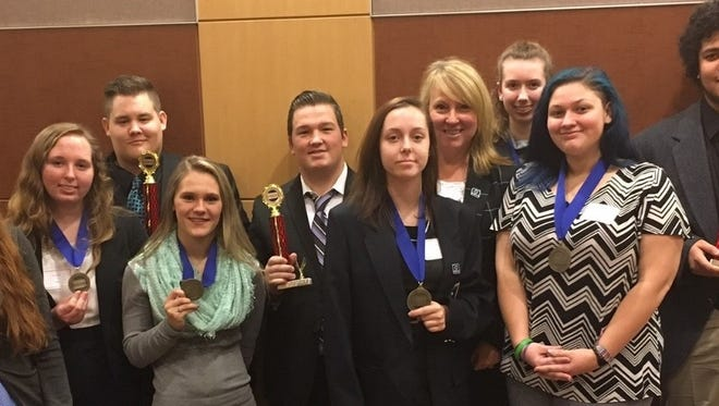 Winners of DECA competition this week at Wilson College are, left to right,  Samantha Cantrell, Taryn Cook, Zach Rathel, Shayla Corwell, Collin Owen, Haven Knight, Susan Mills, Abigail Myers, Grace Drew, Dreyden Walker