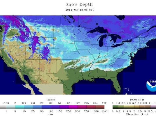 Where's The Snow On Ground In 49 Of 50 States: Snow Depth Map Usa At Codeve.org