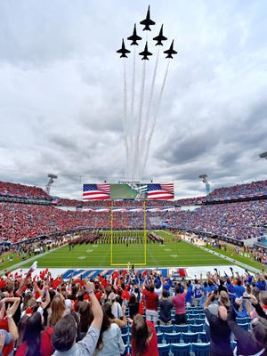 The US Navy Blue Angels perform the flyover at the start of the game. The Florida - Georgia football game on TIAA Bank Field in Jacksonville, Florida on Saturday October 27, 2018.