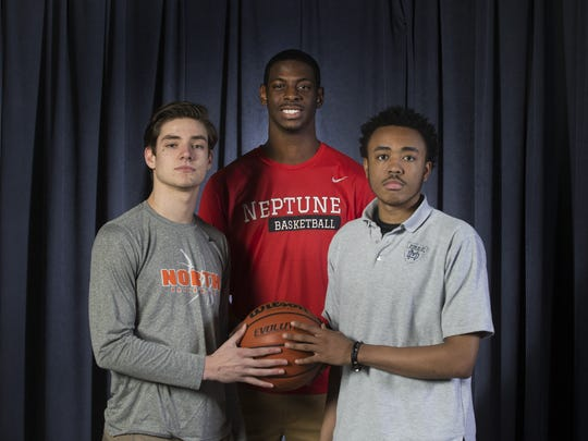 All Shore Basketball team - Rob Higgins, Middletown North, Jared Kimbrough, Neptune, and Kenneth Jones, Mater Dei Prep