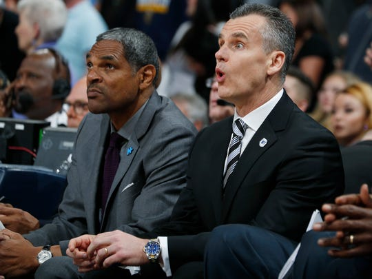 Thunder coach Billy Donovan, right, reacts to call as assistant coach Maurice Cheeks sits next to him during the first half of the team's NBA basketball game against the Denver Nuggets on April 5 in Denver.