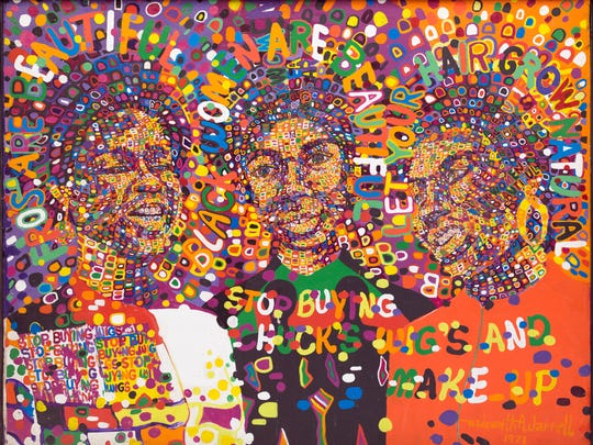 """Three Queens,"" 1971, Wadsworth Jarrell, acrylic on canvas. Detroit Institute of Arts. From the exhibit titled, ""Art of Rebellion: Black Art of the Civil Rights Movement"" at the DIA July 23 - Oct. 22, 2017."