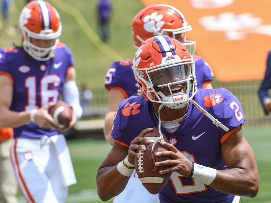 Clemson quarterback Kelly Bryant (2) during warm ups for the Spring game in Memorial Stadium in Clemson on Saturday, April 14, 2018.