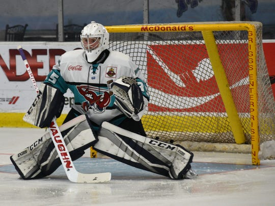 Mudbugs goalie Maiszon Balboa made 35 saves in Friday's victory against Amarillo on George's Pond.