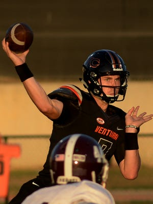 Ventura College quarterback Jake Luton, shown throwing a pass against Mount San Antonio, was voted All-SCFA Northern Conference Offensive Player of the Year.