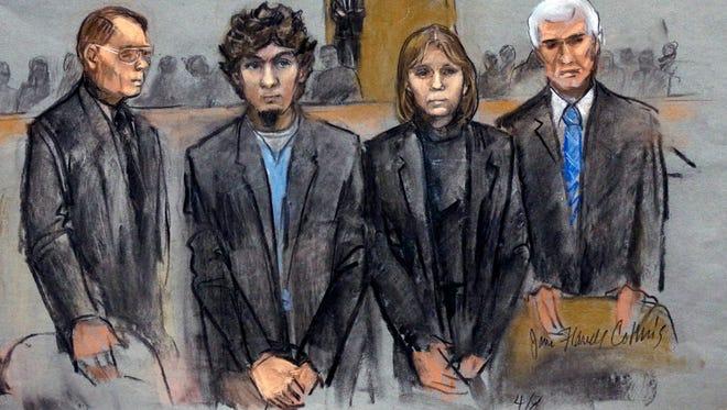 Dzhokhar Tsarnaev, 21, and his trial attorneys in Boston.