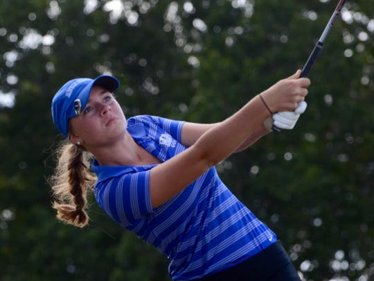 BGA's Hannah Wright watches her tee shot on hole No. 17.