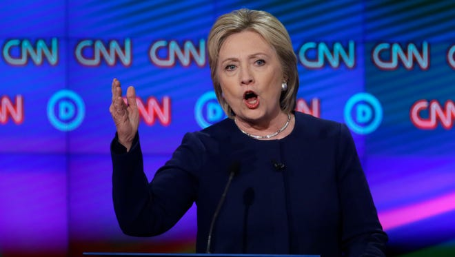 Hillary Clinton makes a point during the Democratic debate at the University of Michigan-Flint on March 6, 2016, in Flint, Mich.