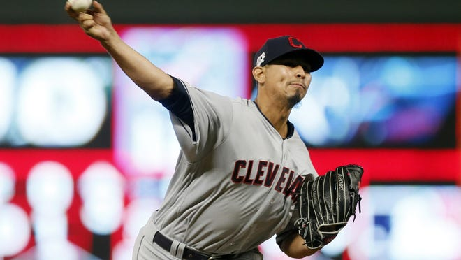 Cleveland Indians pitcher Carlos Carrasco throws against the Minnesota Twins in a baseball game Friday, Sept 6, 2019, in Minneapolis.