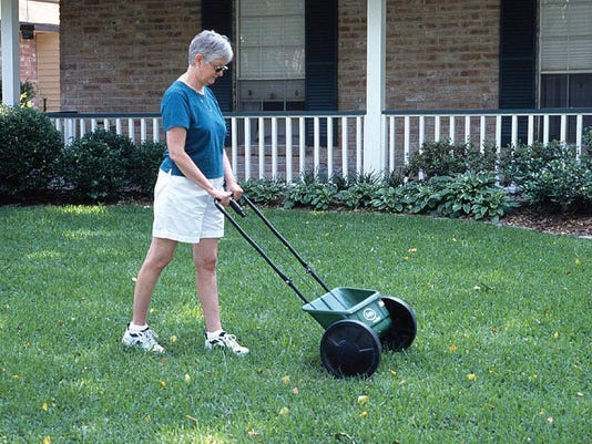 Fertilizing Lawn with Drop SpreaderJPG