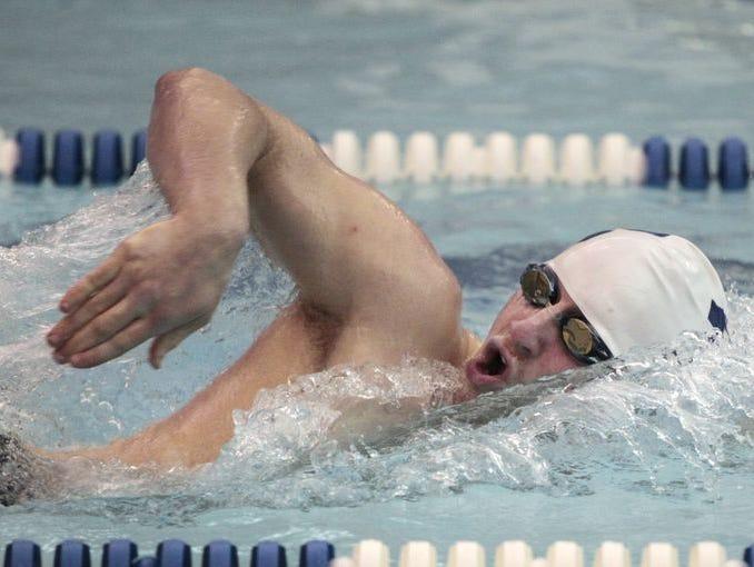 Brighton's Noah Stevens in the 200 freestyle at East Irondequoit Eastridge on Jan. 9.