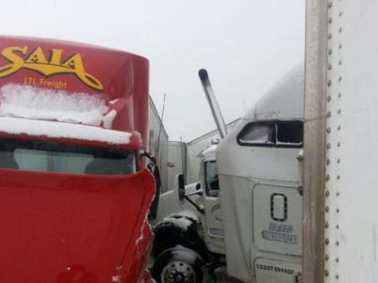 MUST SEE PICTURE: Driver Nearly Crushed by 2 Semi-Trucks