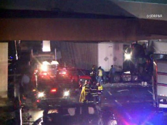 The scene of a multi-vehicle collision that left one person dead on the New Jersey Turnpike in Cranbury Township Monday night, February 10, 2015. CRANBURYTOWNSHIP, NJ TURNPIKE