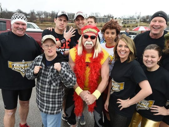 """The team """"Arvestmania"""" came as WWF personalities to the Polar Plunge and raised well over $1,000 to support Special Olympics Arkansas."""