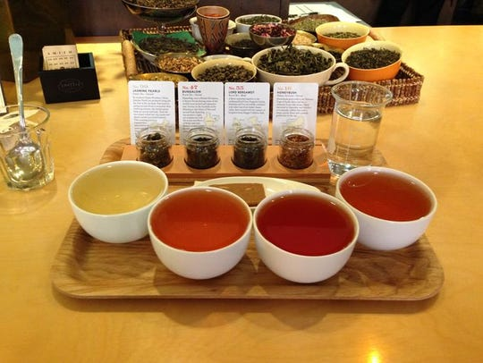 Four different teas at Steven Smith Teamaker in Portland,