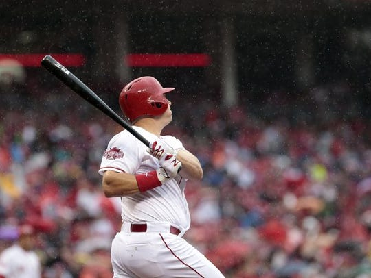 Jay Bruce hits a home run on Opening Day as rain comes