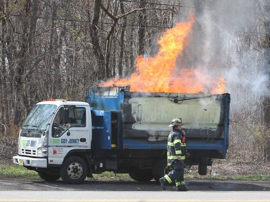 A Got Junk? truck catches fire on busy Rt. 303 in West Nyack (S)