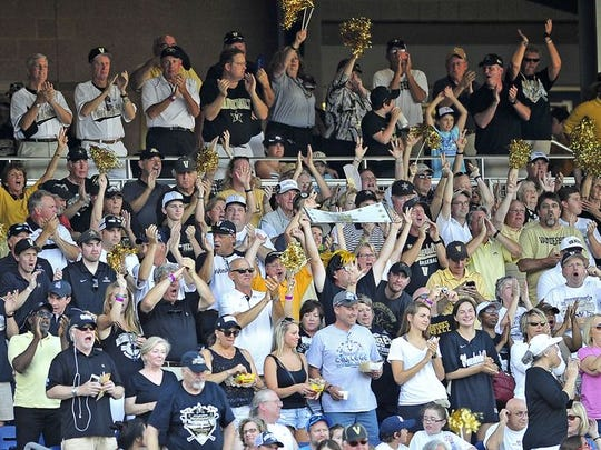 Vanderbilt fans cheer for the Commodores during Game 1 vs. Virginia.
