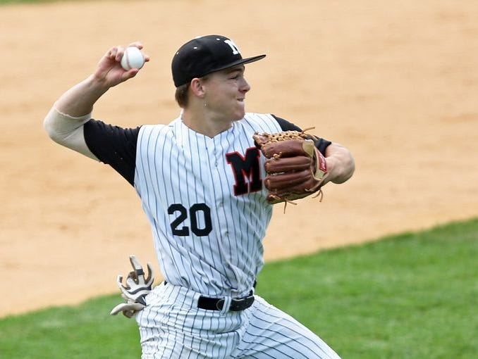Mamaroneck's Peter Matt (20) in a 4-3 win over Valley Central in the Class AA baseball regional semi final at Cantine Field in Saugerties June 5, 2015.