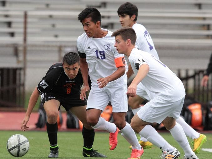 New Rochelle hosted White Plains in a boys varsity soccer match Oct. 2, 2014 in New Rochelle. White Plains won 1-0.