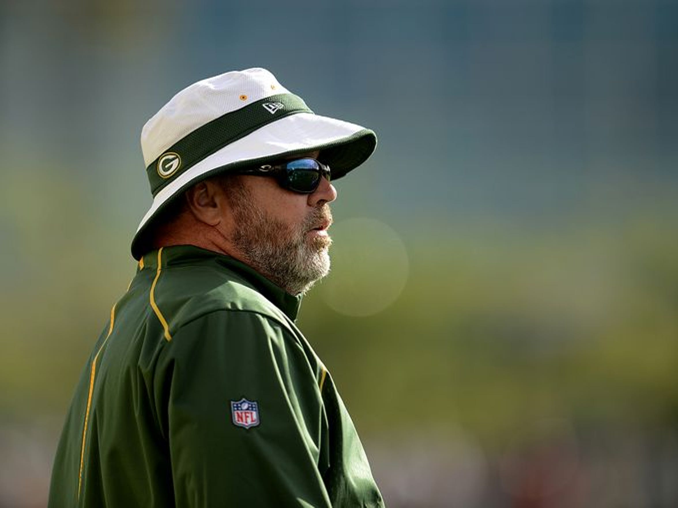 Green Bay Packers coach Mike McCarthy looks on during training camp practice at Ray Nitschke Field on Tuesday, Aug. 4, 2015.