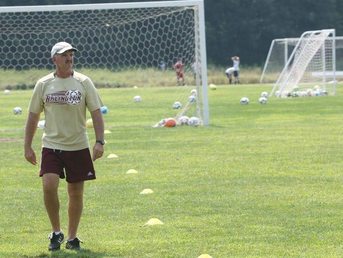 Arlington High School coach Craig Sanborn at preseason soccer tryouts held at Stringham Park in LaGrangeville.
