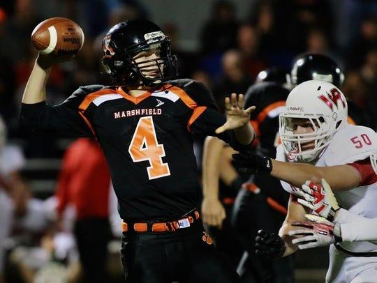 Marshfield quarterback Tyson Slade hopes to keep the