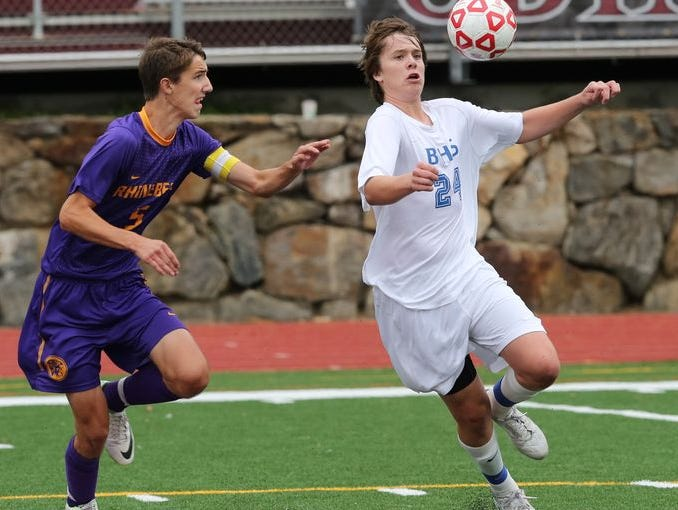 Game action as Rhinebeck plays Bronxville during their boys soccer Section 1 vs. Section 9 Challenge game at Valhalla High School Oct. 13, 2014.