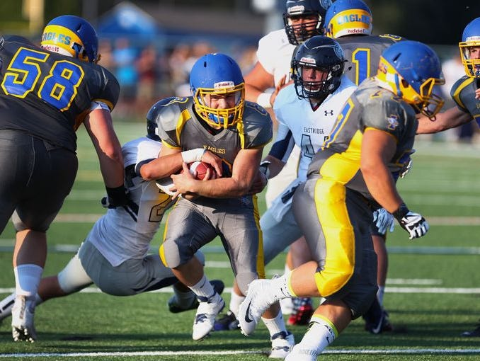 Irondequoit junior running back Christopher DiCesare helped lead the Eagles past Greece Athena last week.