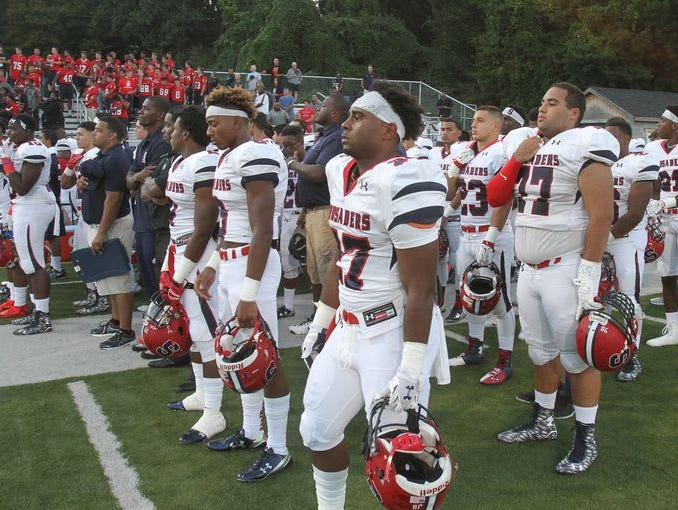 The Stepinac football team prior to its 31-0 win at Newburgh on Sept. 4, 2015. Stepinac will host St. Anthony's on Oct. 17, 2015, in a meeting of state-ranked teams.