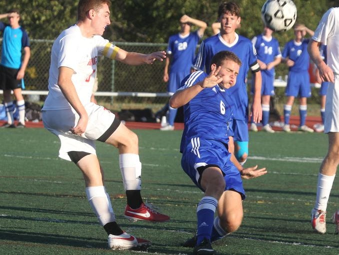 James Hennessy (left) is the latest boys soccer Player of the Week. Pearl River boys' soccer won1-0 at Tappan Zee Sept. 24, 2015.