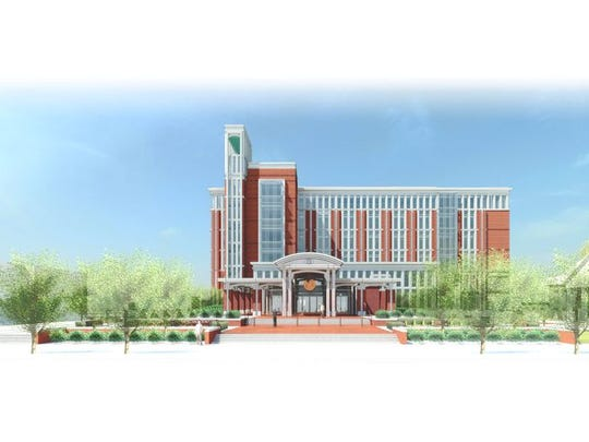 This rendering shows what the future Rutherford County Judicial Center is supposed to look like when it's scheduled to open June 2018 on the north side of East Lytle Street a couple blocks north of the existing Judicial Building on the Square in Murfreesboro.