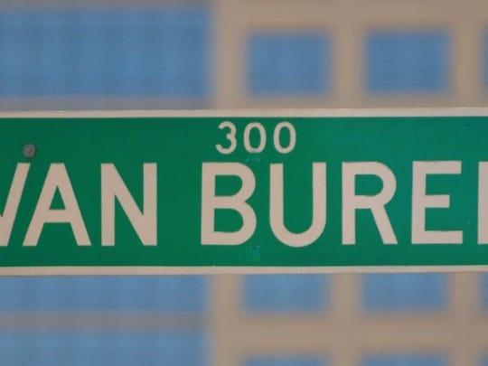 A street sign for Van Buren Street.
