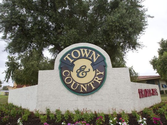 A sign for Town & Country mall in Phoenix.