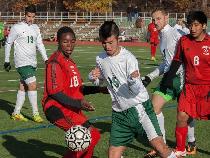 Solomon Schecter took on Alexander Hamilton in the boys class C soccer section finals at Arlington High School in Lagrangeville, NY on November 2, 2014