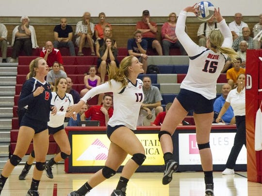 Kailey Frei sets up a pass to Makenzi Bird-Murphey earlier this year. Bird-Murphey had averaged 15.5 kills and hit .482 with 5.0 digs and 3.0 total blocks in the two wins last week.