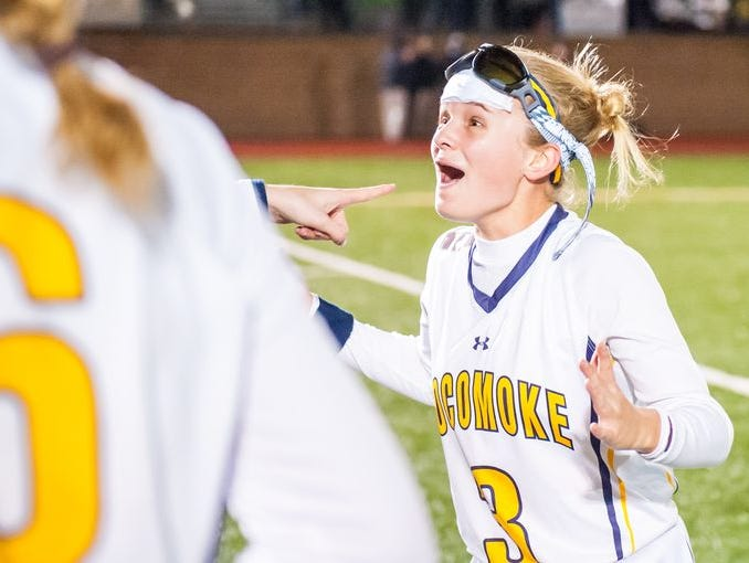 Pocomoke defender Cammie Mottley (3) celebrates winning the MPSSSAA 1A State Finals on Saturday evening at Washington College in Chestertown.