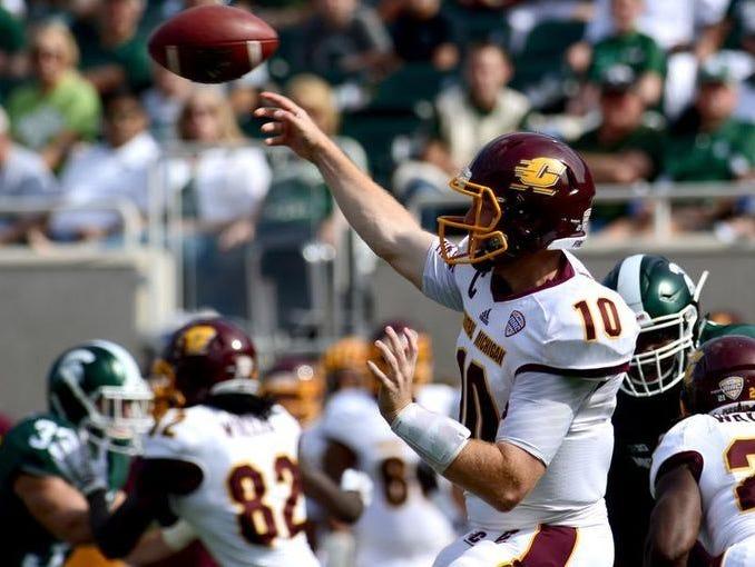 Lansing Catholic grad Cooper Rush has thrown for a CMU single-season record 3,703 yards this fall.