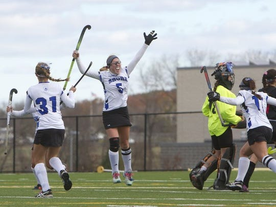 Shore Regional's Jessica Welch jumps in the air as she celebrates her first of two goals she scored in her team's 3-0 win over Haddonfield. Shore Regional defeats Haddonfield 3-0 in NJSIAA Group I State Final in Bordentown, NJ on November 14, 2015  Peter Ackerman/Staff Photographe