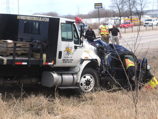 A four-vehicle accident was triggered when an International truck plowed into the rear of Sudhaker Ingle's car on Interstate 41.
