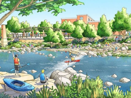 A downtown/whitewater park project would reshape and regrade the river, providing faster flows and better access to the river, and whitewater features. A pedestrian bridge over the river will also be built.