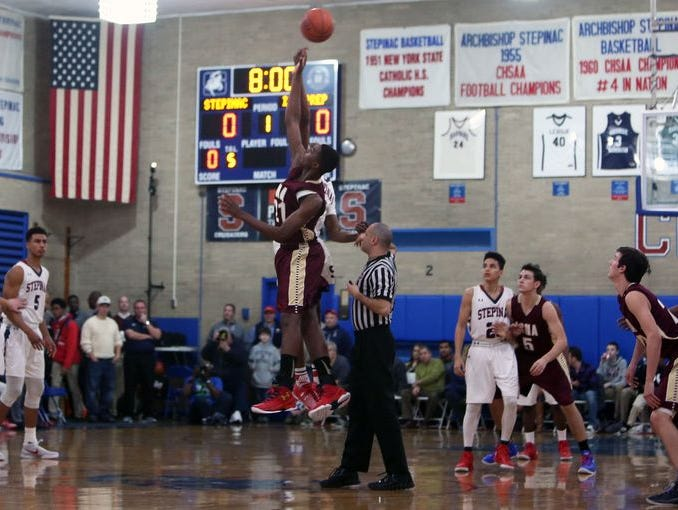 Stepinac and Iona Prep in boys basketball action at Archbishop Stepinac High School in White Plains Jan. 8, 2016.