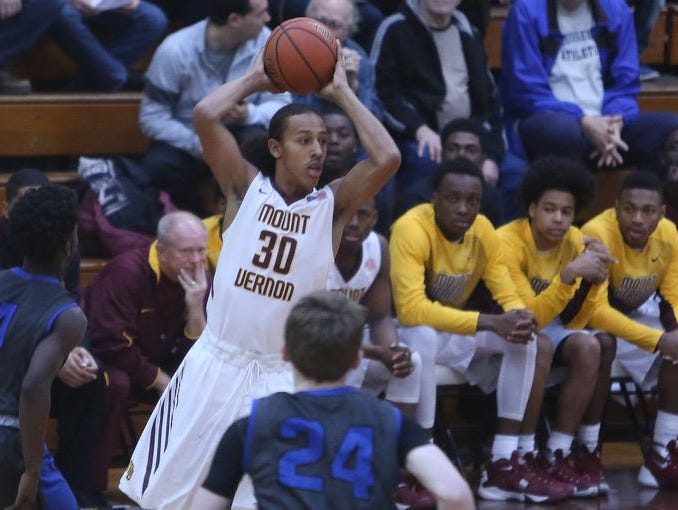 Noah Morgan pictured during Mount Vernon's 62-52 victory over Saunders during boys basketball action at Mount Vernon High School Jan. 9, 2016.