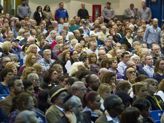 A crowd of more than 1,200 packed Toms River High School North for the first hearing on the Chabad Jewish Center. The second hearing is scheduled for Feb. 18.