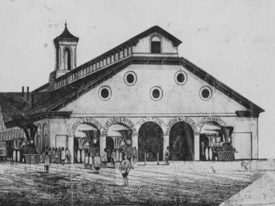 A sketch depicts Indianapolis' Union Depot circa 1853.