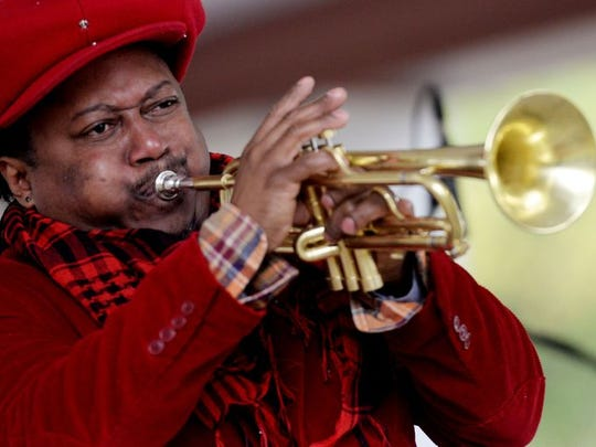 Highland Jazz and Blues Festival headliner Kermit Ruffins of New Orleans' Basin Street Records performs during the 11th annual festival at Columbia Park in Shreveport.