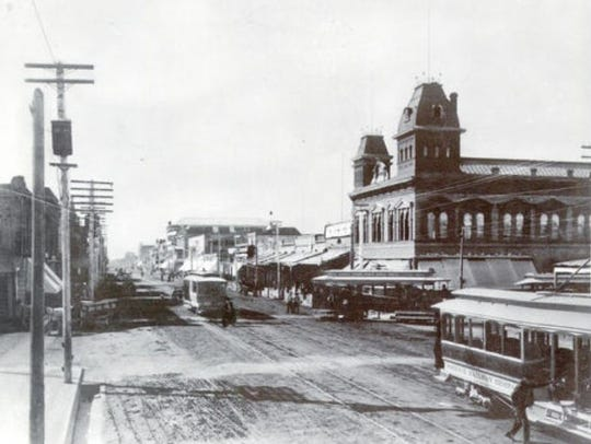 Washington Street, with Moses Sherman's trolleys, in