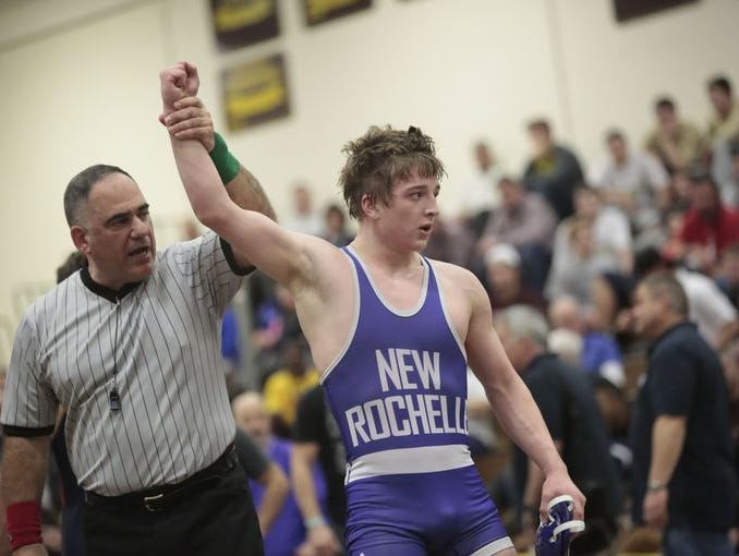 Wrestlers compete in the Division 1 Championships at Clarkstown South in West Nyack on Feb. 14, 2016.