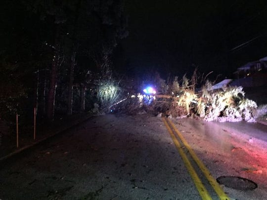 West Manchester Township Police blocked off Bougher Lane near Route 74 on Wednesday night after a tree fell over power lines.